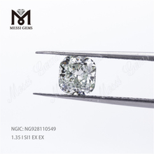 1.35Carat Excellent Polished Cushion Brilliant I SI1 EX EX HPHT Loose CVD Diamond