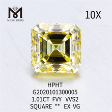 1.01ct FVY Square loose lab grown diamond EX VG
