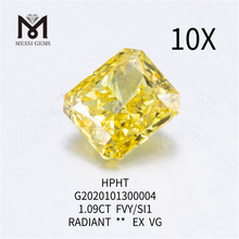 1.09ct FVY/SI1 Radiant cut lab grown diamond EX
