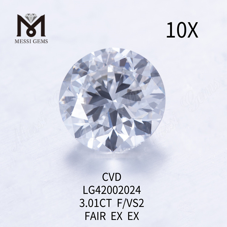3.01 carat F/VS2 Round lab grown diamond FAIR EX EX