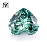 blue green moissanite for ring making heart shape 7x7mm loose gemstones colorful moissanite stone