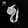 Engagement 18k White Gold moissanite rings Claw Setting 6.5mm 1ct Moissanite Rings Jewelry