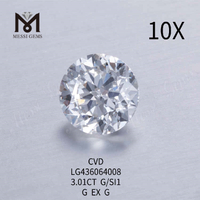 3.01CT G/SI1 round lab grown diamond G EX G