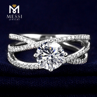 newest designs twist 14k gold solid moissanite diamond wedding ring for women