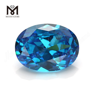 wholesale best russian industrial loose Aquamarine Oval cubic zirconia 10x12mm