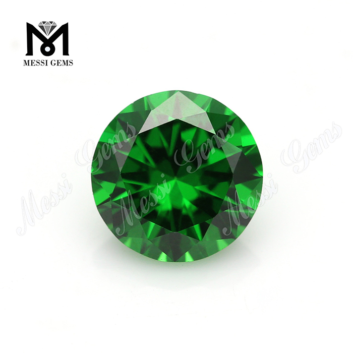 Wholesale Green CZ Loose Gemstone Round 8mm Synthetic Cubic Zirconia Stone