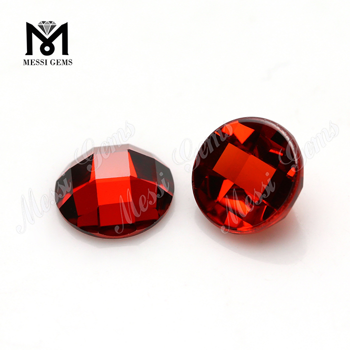 Wholesale Machine Cut Garnet 8mm round Cubic Zirconia Stone