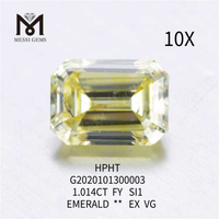 1.014ct FVY emerald cut loose lab grown diamond SI1