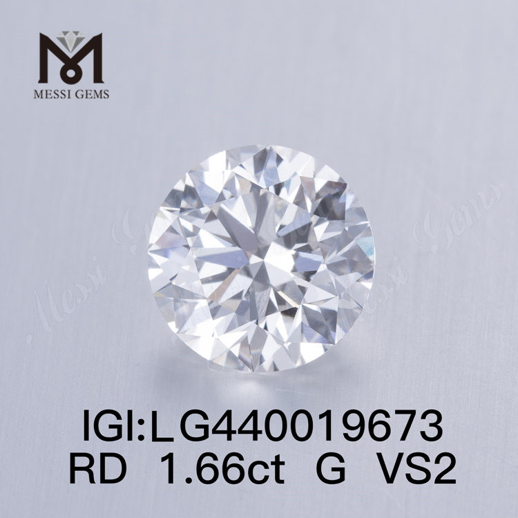1.66 carat G VS2 IDEAL Round lab grown diamond