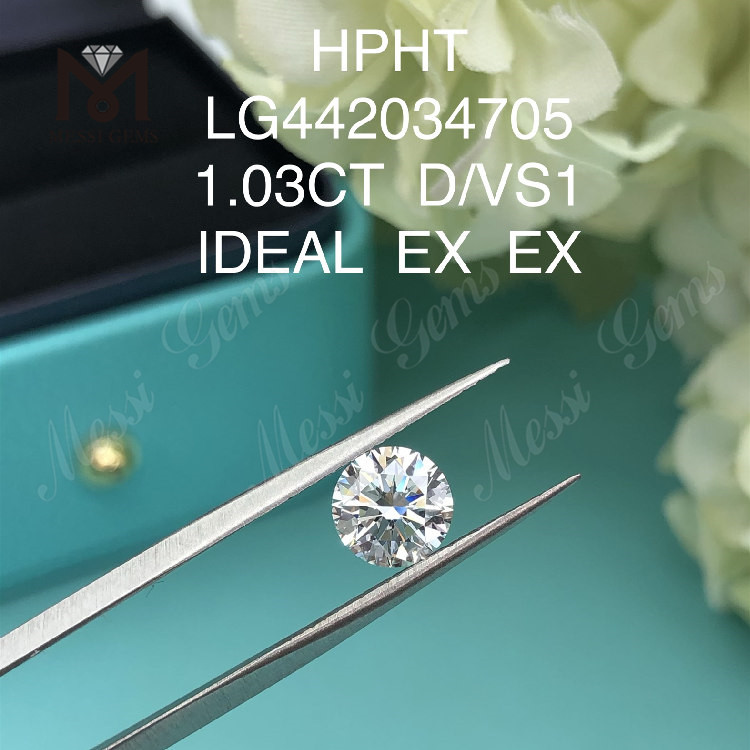 1.03 carat D VS1 IDEAL EX EX Round lab grown diamond