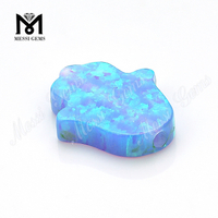 Lab Created Hand Shape Opal 11x13mm Synthetic Opal Blue Fire Opal Hamsa