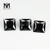 7x7 mm square cut black cubic zirconia stone