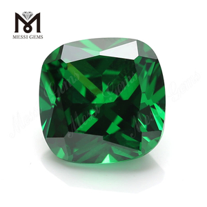Top selling cushion cut 12x12mm wholesale cubic zirconia green cz gemstone