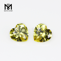 High quality heart golden yellow cubic zirconia gemstone price