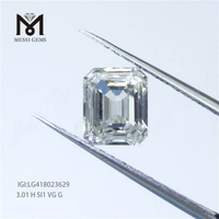 customized loose lab grown diamond 3.01 carat H SI1 EX fancy cut emerald cut CVD lab grown diamond for jewellery