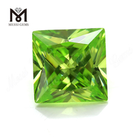 Color cubic zirconia apple green square shape CZ stones with cheap price